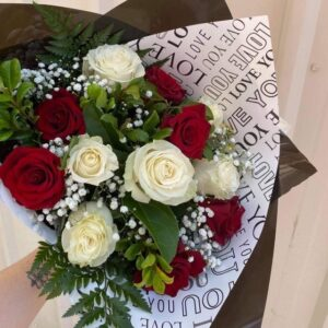 12 White & Red Rose Bouquet